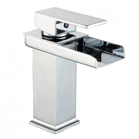 Robinet de lavabo à poignée unique en chrome moderne de type cascade pour salle de bain